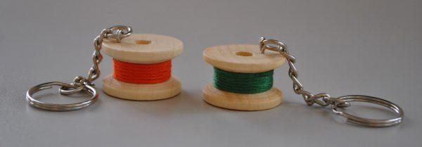 Small wooden bobbin keyring